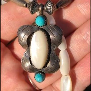 Jewelry - Vintage Native sterling necklace mop turquoise old